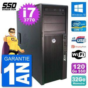 ORDI BUREAU RECONDITIONNÉ PC Tour HP Z210 Intel Core i7-3770 RAM 32Go SSD 12