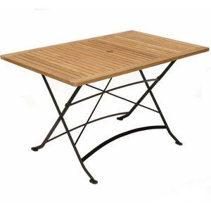 Table rectangulaire pliante en fer forgé et teck - Achat / Vente ...
