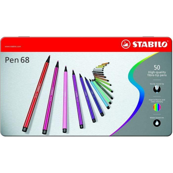 STABILO Boîte métal de 50 Feutres de Dessin Pen 68