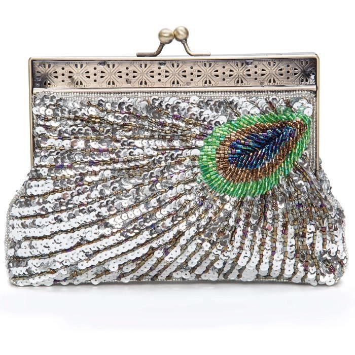 Rétro perles Paillettes paon dembrayage sac de soirée sac à main de mariage UHDDO