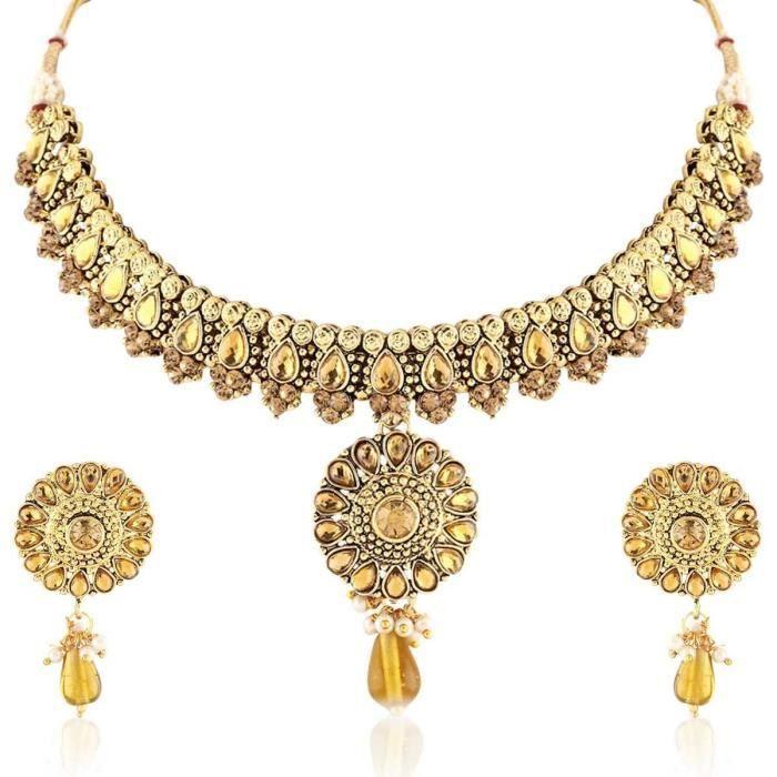 La conception exclusive de femmes Kundan Finition Antique Gold Collier Set AAVO6