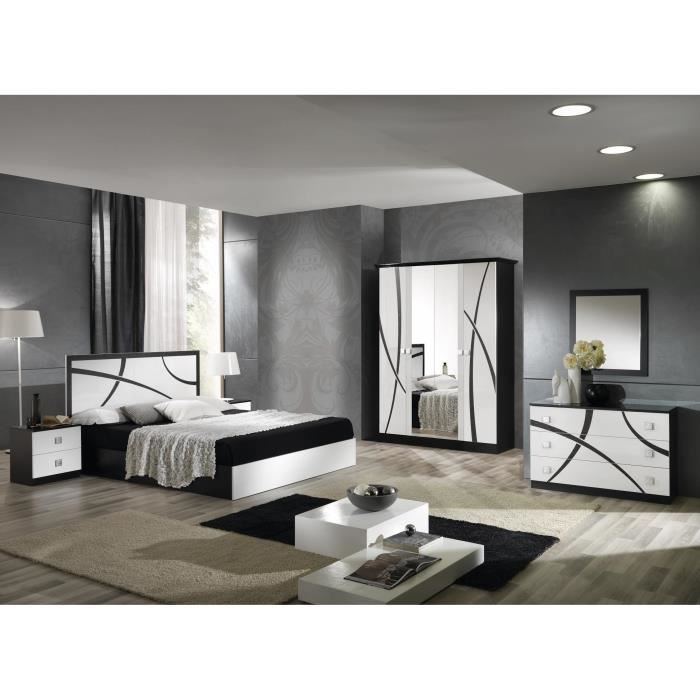 Chambre milano compl te armoire 4 portes lit 160x200 for Chambre a coucher complete 1 personne