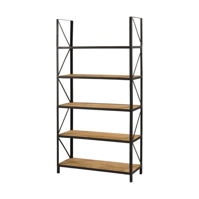 etag re industriel en bois pin massif cir bross et m tal l 90 cm achat vente meuble. Black Bedroom Furniture Sets. Home Design Ideas