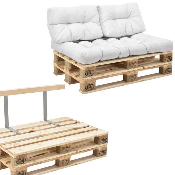 canap de palettes 2 si ge avec coussins blanc kit compl te incl dossier achat vente. Black Bedroom Furniture Sets. Home Design Ideas