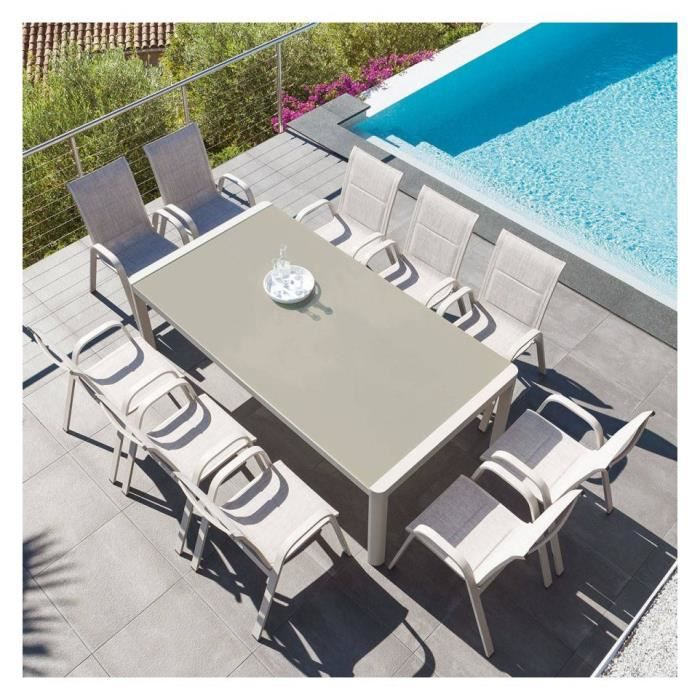 Table Absolu extensible 12 personnes taupe Hespéride - Achat / Vente ...