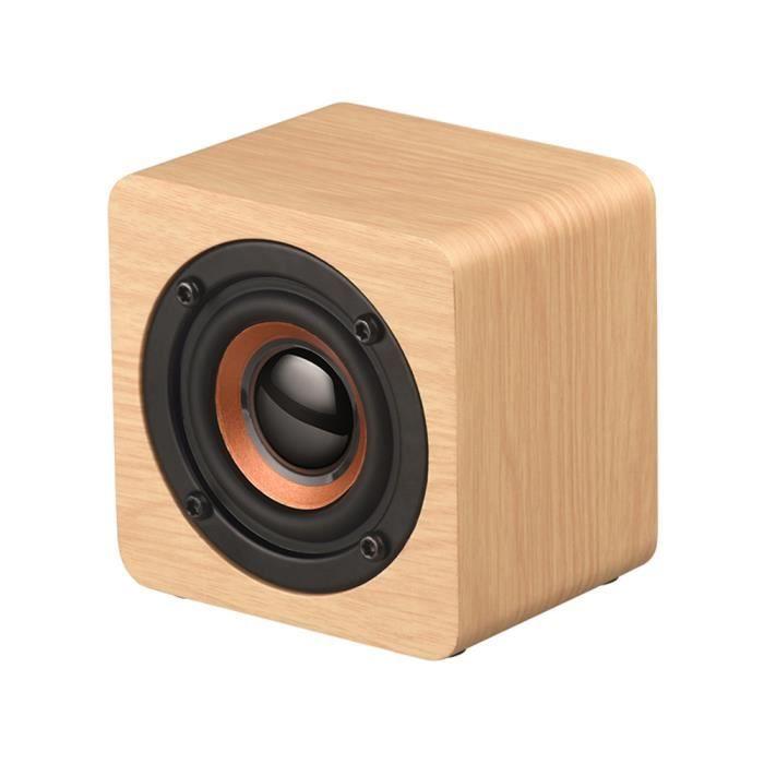 Mini En Bois Bluetooth Haut-parleur Portable Sans Fil Subwoofer Forte Basse Puissant Sound Box Musique Cube Magique Pour Smartphone