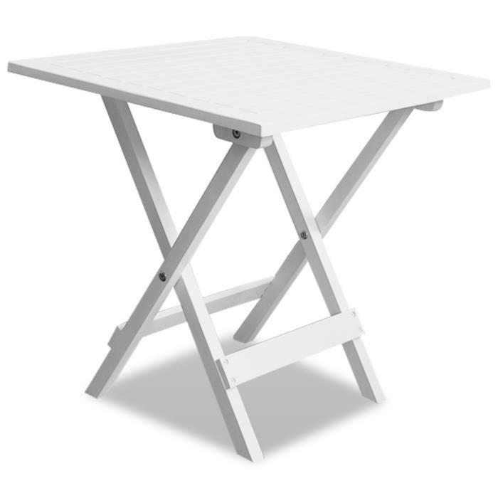 Table Basse table d\'appoint de Jardin Blanche en Acacia Design ...
