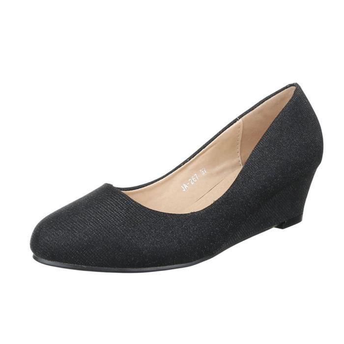 femme escarpin chaussure High-Heels Mules mule sandalette semelle compensée  Wedges noir 09b5c1708b3d