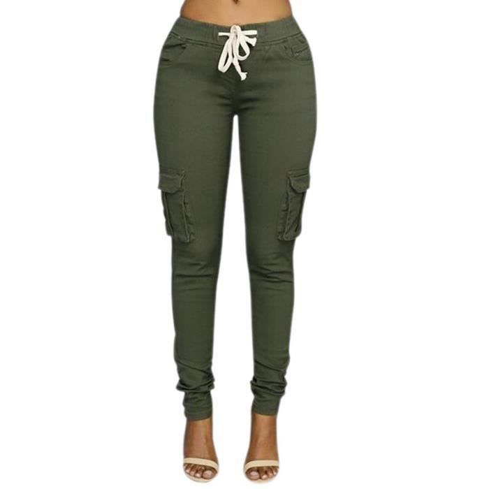 a6b7be0a4368e Minetom Femme Pantalons Jeans Taille Haute Slim Legging Cordon Cargo  Militaire Casual Crayon Skinny Stretch Jambière Pantalons