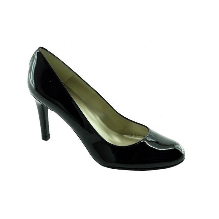 c9d405331a351c Meli - Escarpins bout rond talon haut aiguille chaussures petite pointures  Femme marques Angelina cuir vernis noir