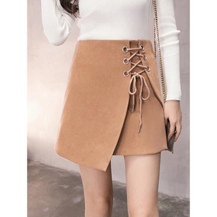 4d7fb3d33277 Jupe Mode féminine taille haute One Step Aline court solide Jupe Couleur  13258296