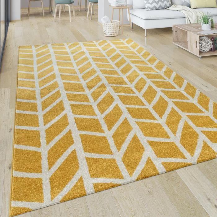 Tapis Salon Motif Géométrique Moderne Poils Ras Rayures Jaune Blanc
