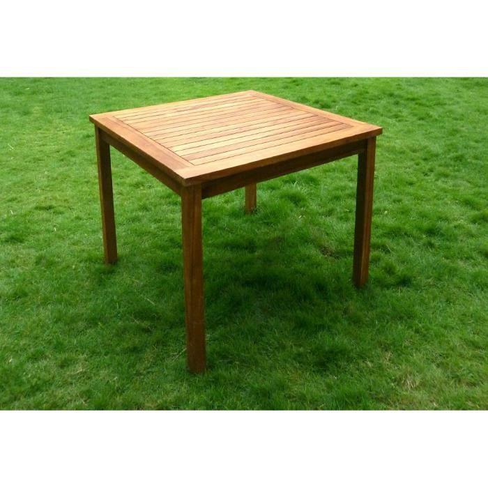 Table de jardin en teck huilé, carrée 90 cm - Achat / Vente table de ...