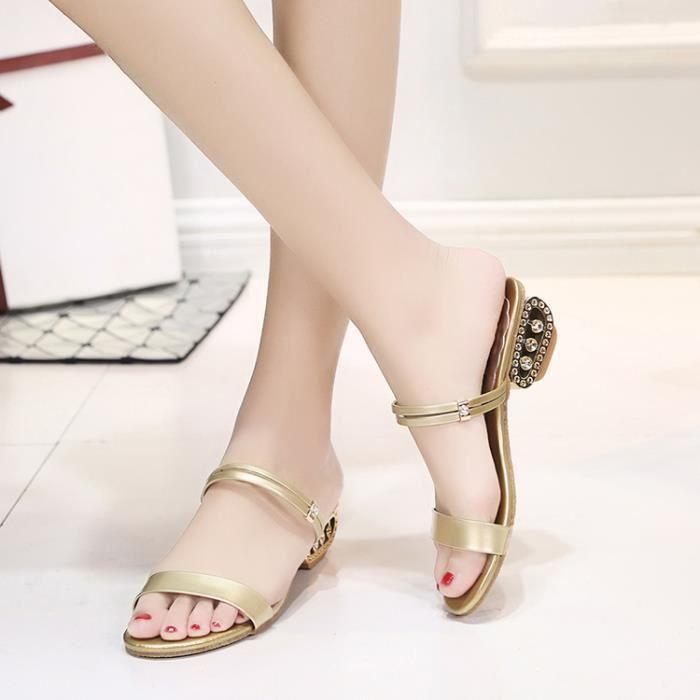 2017 Femmes été Sandales mi-talon Peep Toe Rhinestone chaussure Sandales Casual Chunky chaussures noir taille de la couleur 38 s7OHG
