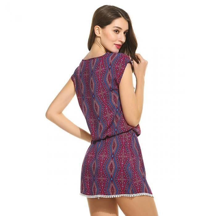 Mini robe Femmes Casual O-cou manches courtes taille Lace Up