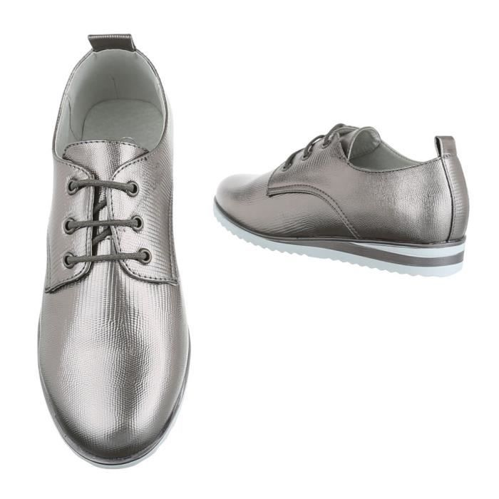 Femme chaussures flâneurs lacer argent gris 41