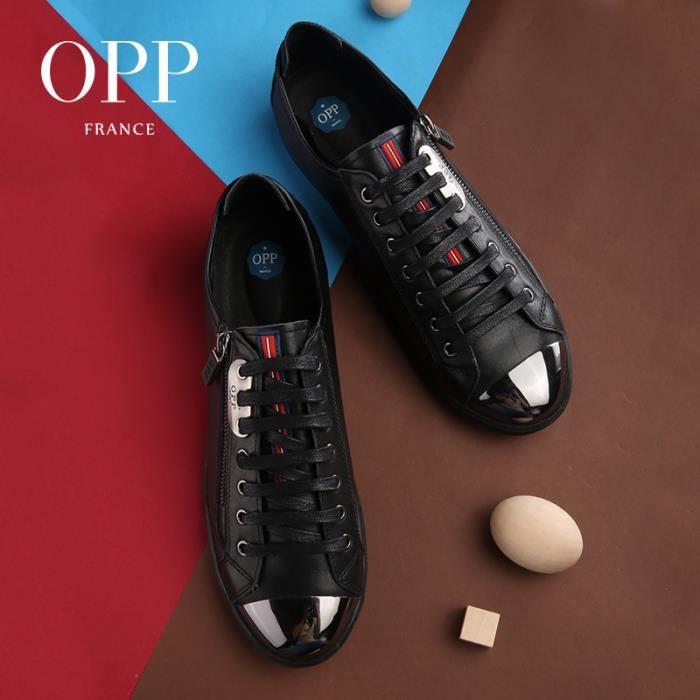 Homme Plat 1819 EU 44 Sneakers Noir 1 Basket Cuir Chaussure Sport Noir taille OPP Chaussures de Décontracté HWWg0RXq
