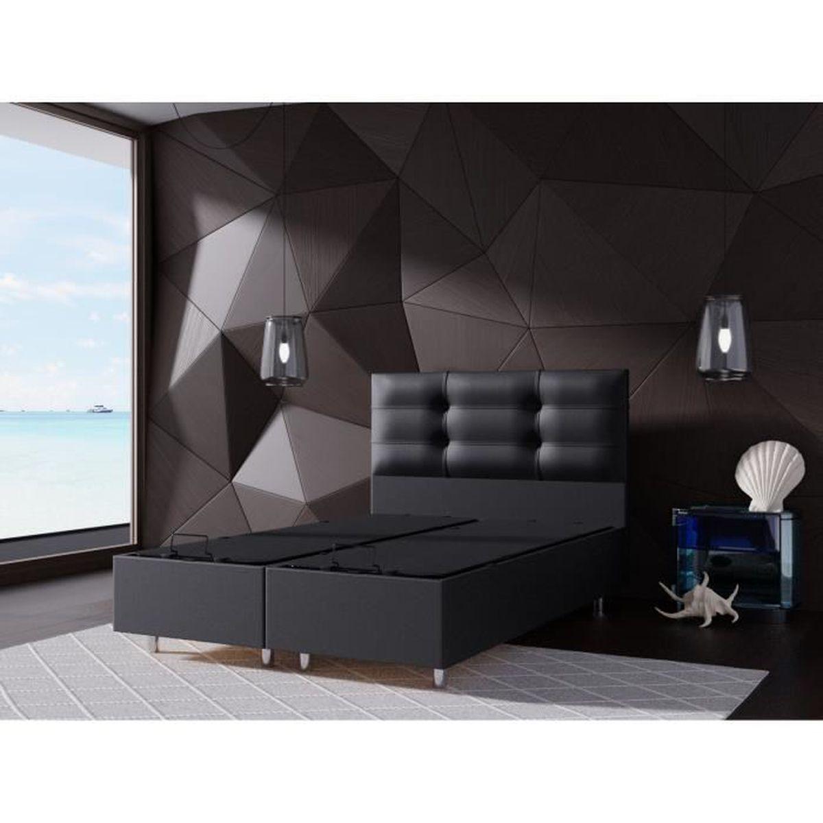 lit coffre 140x190 + tete de lit noir - achat / vente structure de