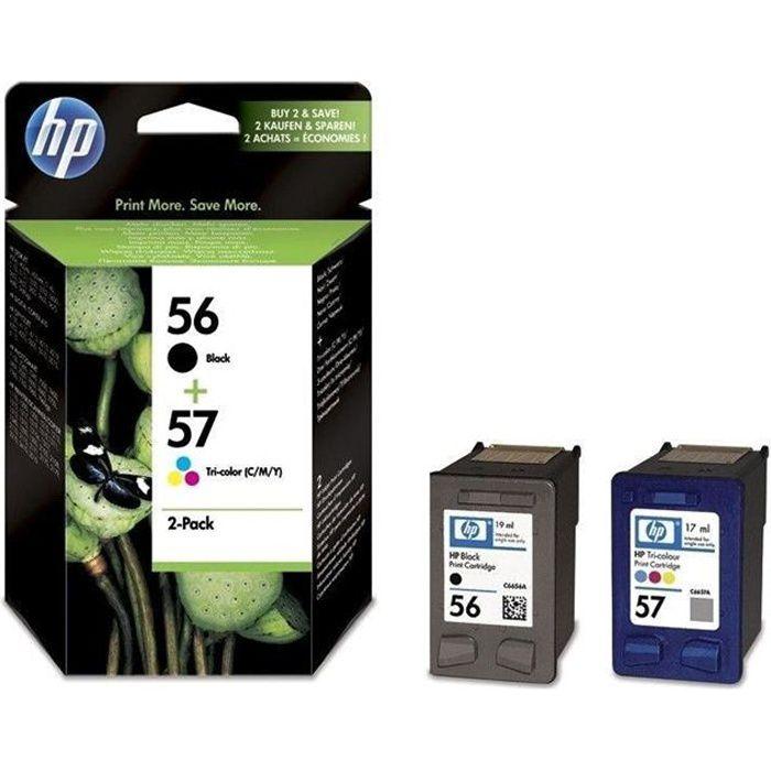 HP 56/57 Lot de 2 cartouche d'encre Noir et Trois couleurs authentiques (SA342AE)