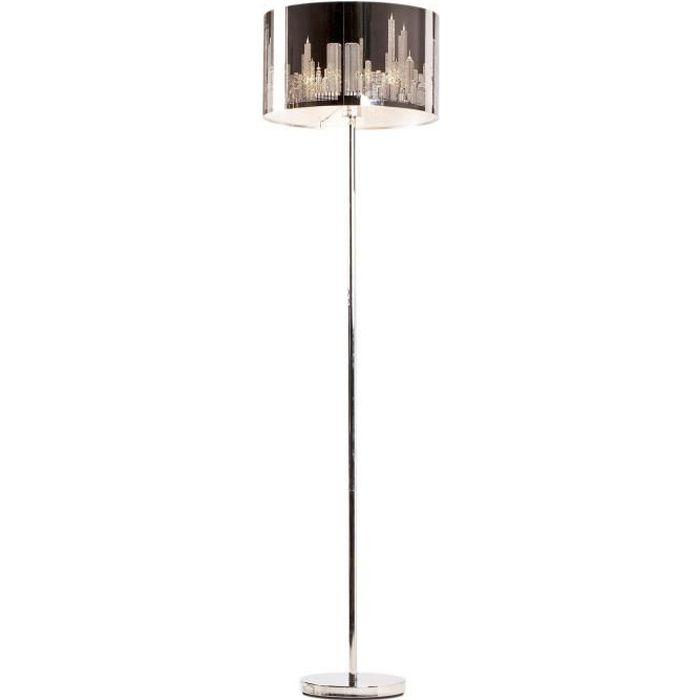 NEW YORK lampadaire chrome et noir . Hauteur 155cm