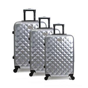 GEORGES RECH Set de 3 Valises Rigide Polycarbonate 4 Roues 52-64-72cm BELFAST Argent