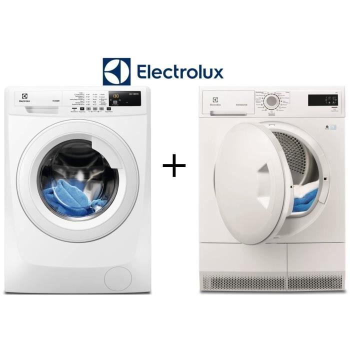 Pack ELECTROLUX - EWF1482BC - Lave-linge frontal - 8kg - 1400 tours - A+++ / EDC2086PDW - Sèche-linge - 8kg - Condensation - B