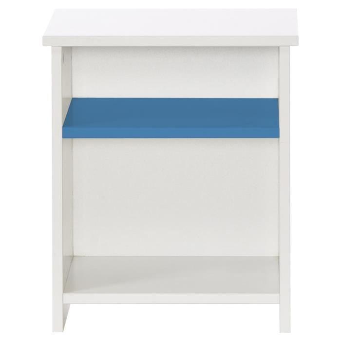MDF E1 laqué blanc et bleu - L 35 x P 40 x H 46 cm - 2 niches de rangement - Fabrication françaiseCHEVET
