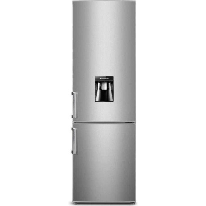 262L (196L + 66L)-Froid statique-A+-L 55 x H 180 cm-Silver-Distributeur d'eau-Dégivrage auto du réfrigérateurREFRIGERATEUR CLASSIQUE