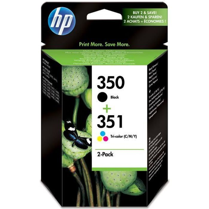 HP 350/351 Pack de 2 cartouches d'encre Noir et Trois couleurs authentiques (SD412EE)