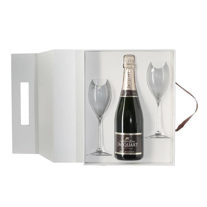 Coffret champagne jacquart brut mosaïque 75 cl 2 flûtes