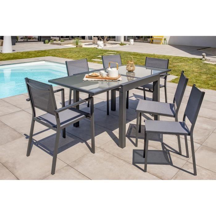 DCB GARDEN Table Tolede-TB180 + 4 chaises Tolede-CH + 2 fauteuils Tolede-FT - Noir