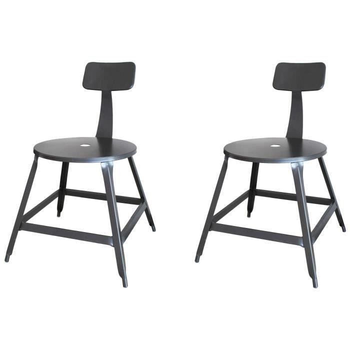 LOFT Lot de 2 chaises de salle à manger métal gris -...