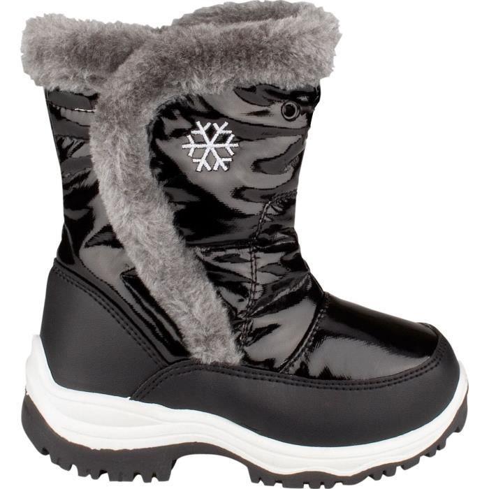Mixte Enfant - Noir - Semelle caoutchouc - Avec couche intermédiaire imperméableAPRES-SKI - SNOWBOOT - BOOTS DE SKI