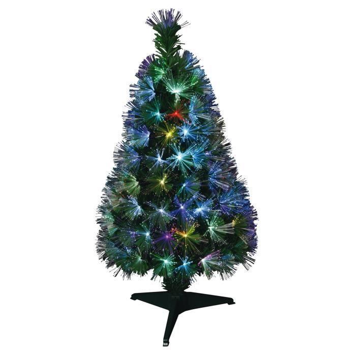 Sapin de Noël artificiel Fibre optique New York - 55 LED - 55 branches - 60 cm - Avec transfoSAPIN DE NOEL - ARBRE DE NOEL