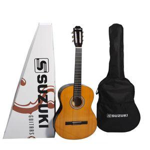 SUZUKI Guitare classique 1/2 pour enfant finition naturelle avec housse de protection