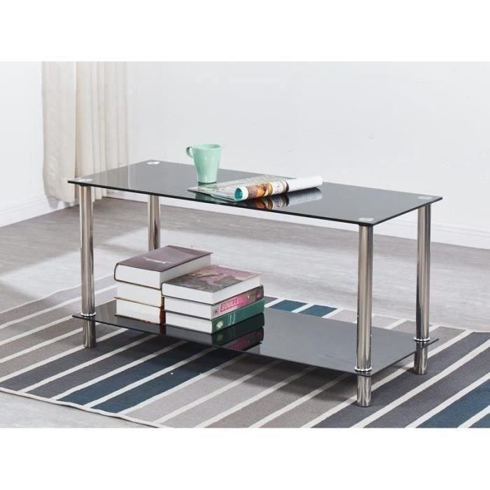 PIA Table basse verre trempé - Noir -  L 100 x P 40 x H 50 cm