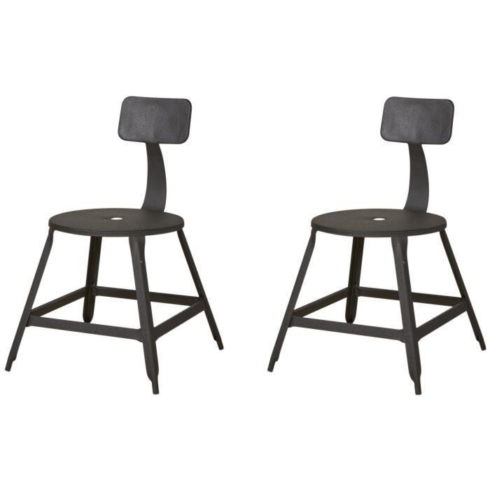 Lot de 2 chaises CARO coloris noir