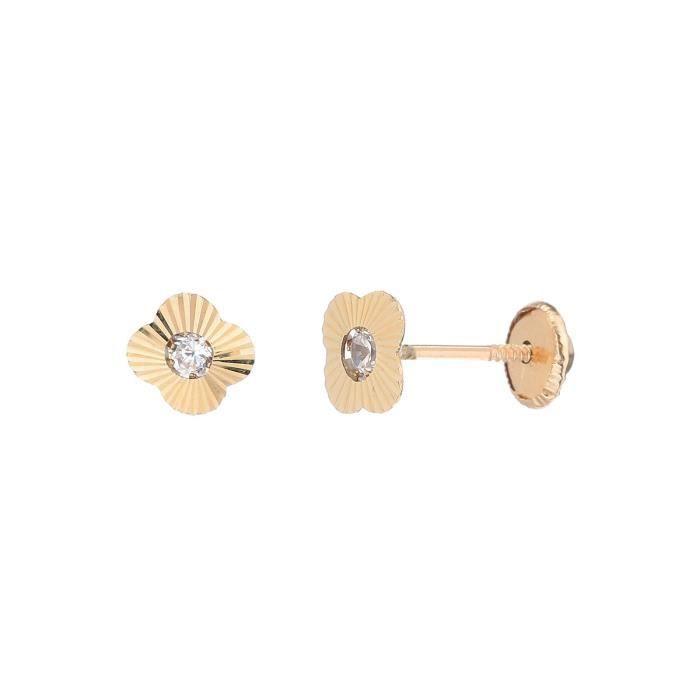 YSORA Boucles D'Oreilles Puces Or Jaune 375° Oxydes de zirconium Femme