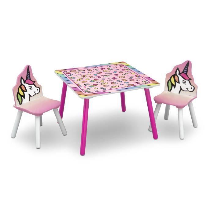 DELTAKIDS - GN - Ensemble Table et 2 Chaises Bois Enfant - Licorne