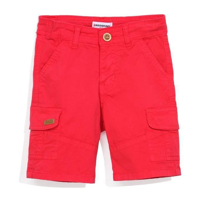 REDSKINS - Bermuda Multi Poches Rouge En Coton Délavé - Enfant Garçon