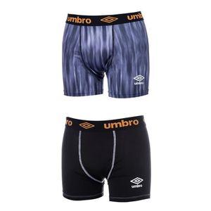 UMBRO Lot de 2 Boxers Homme - Imprimé Bleu - Uni Noir