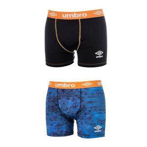 UMBRO Lot de 2 Boxers Homme - Noir Orange / Imprimé Bleu