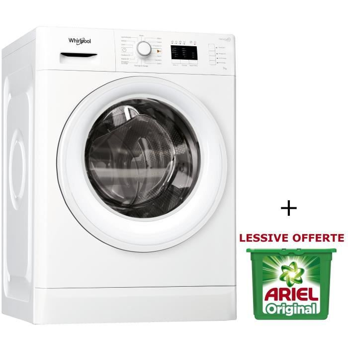 PACK WHIRLPOOL FWL71452WFR - Lave linge frontal - 7 kg - 1400 tours / min - A++ - Blanc - FreshCare+