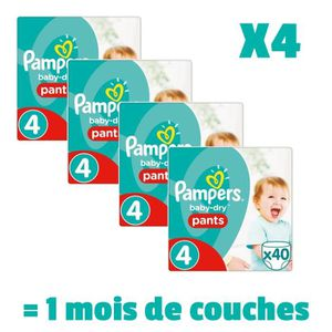 PAMPERS BabyDry Pants Taille 4 - 8 ? 15kg - 160 couches - Format pack 1 mois
