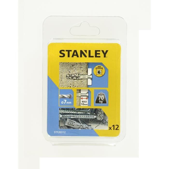 STANLEY Lot 10 de chevilles en nylon ø 7x30 mm avec vis à tête fraisée STF20312-XJ