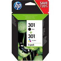 CARTOUCHE IMPRIMANTE HP 301 Pack de 2 cartouches d'encre Noir et Trois