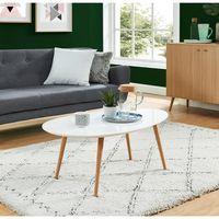 STONE Table basse scandinave laquée blanc avec pieds en bois massif - L 98 x l 61 cm