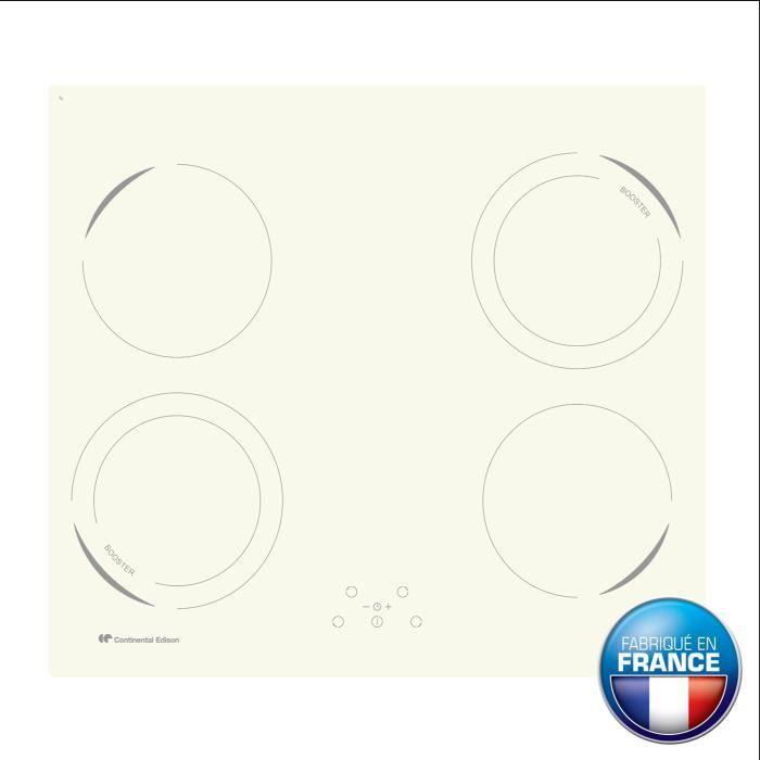continental edison ceti42bw table de cuisson induction 4 zones 6500w l59xp52cm rev tement verre. Black Bedroom Furniture Sets. Home Design Ideas