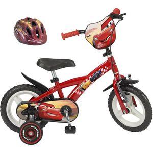 """VÉLO ENFANT CARS Vélo 12"""" + Casque - Enfant - Rouge et noir"""