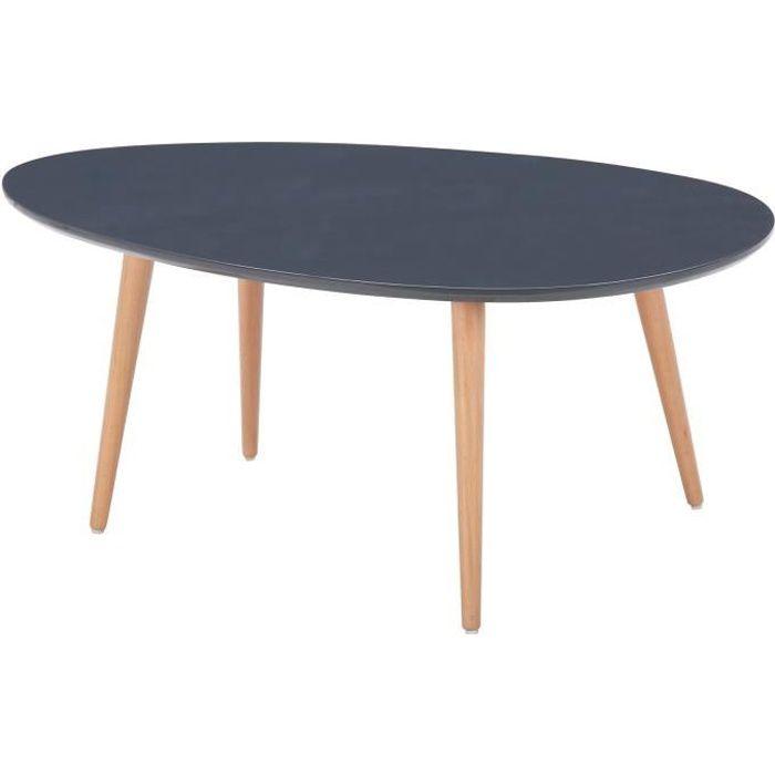 Stone Table Basse Ovale Scandinave Gris Laqué L 98 X L 61 Cm
